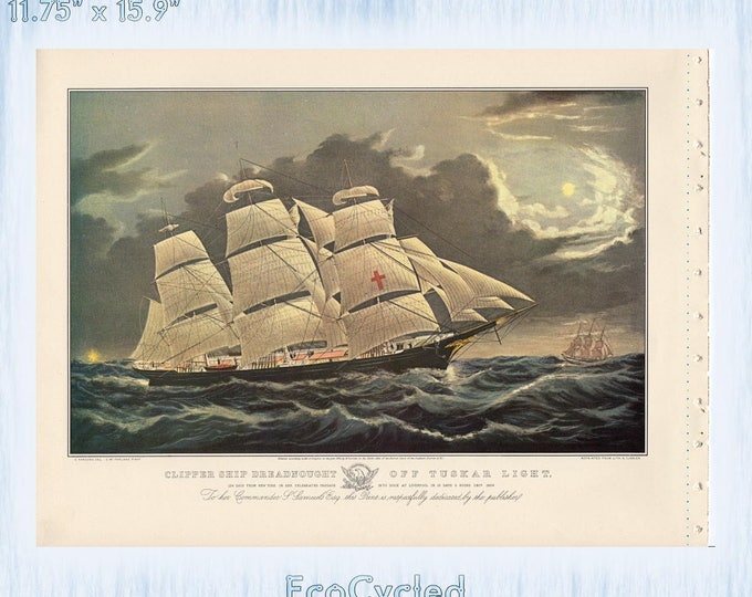 Nautical Americana Currier & Ives Vintage Lithograph Print Clipper Ship Dreadnought Off Tuskar Light sailing Paper Ephemera Book Page zyx11