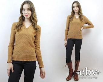 Light Brown Sweater Brown Knit 70s Sweater 70s Jumper 70s Knit 1970s Sweater Vintage 70s Light Brown Vneck Sweater S M Tan Sweater