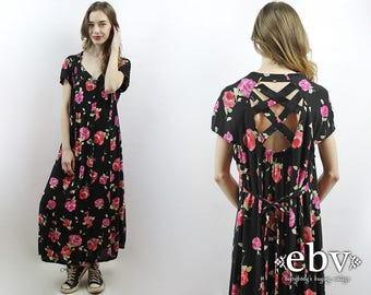 Floral Maxi Dress Black Floral Dress Plus Size Dress Plus Size Vintage 90s Maxi Dress 90s Floral Dress 90s Grunge Dress Black Roses Dress 1X