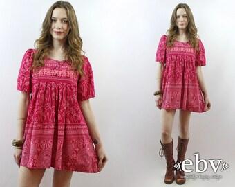 Maternity Dress Pink Dress Tent Dress 90s Dress 1990s Dress Ethnic Print Dress Hippie Dress Hippy Dress Tunic Top Summer Dress S M L