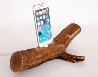 iPhone Rustic Dock from oak wood - iPhone 5 / 5S / 5C / SE / 6 / 6 Plus / 6S / 6S Plus / 7 / 7 Plus compatible - handmade