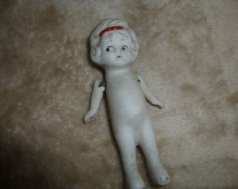 Doll Antique Bisque Movable Arms Frozen Charlotte Porcelain Figurine Collectible