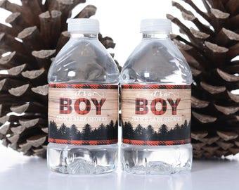 25 Custom Baby Shower Water Bottle Labels - Baby Shower Stickers - Waterproof Water Bottle Labels for Baby Shower - Lumberjack Baby Shower