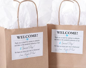 30 Out of Town Welcome Bags - Hotel Wedding Bags - Personalized Wedding Favor Bags