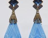 Circa 1920s/1930s Antique Art Nouveau / Art Deco Czech Glass Dangle Earrings Cornflower Blue & Milk Glass-Colored Molded Drops/Dangles