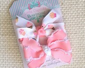 """Sweet Pink Cupcakes and Pink & White Moonstitch {MADE TO ORDER} ~2"""" Mini Pinwheel Hair Bows on a Single Prong Alligator Clip with Grippy"""
