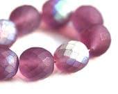 12mm round Purple beads, Fire polished czech glass, Matte Purple AB finish - 6Pc - 1947