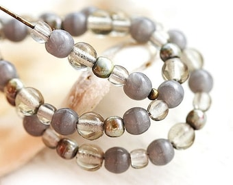 ON SALE Grey beads Mix, picasso Czech glass round spacers, druk, small - 4-3mm - approx.120Pc - 0137
