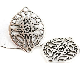 2pc Antique silver Filigree charms, Large Oval metal pendant Drop beads, Openwork connector, Greek metal casting - F530
