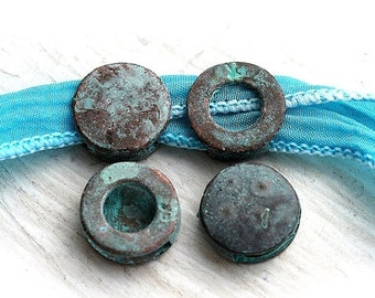 30%OFF SALE Flat round beads for ribbon, Green Patina on copper, greek tab beads for leather cord, Lead Free, 13mm - 4Pc - F168