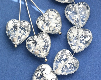 15mm Silver Heart beads, Crystal Clear and Silver flakes czech glass pressed beads, 8Pc - 0278