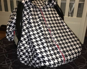 Fleece Baby Car Seat Carrier Canopy Cover Houndstooth (fitted), FREE MONOGRAMMING