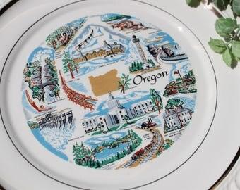 "Oregon State Plate Oregon Souvenir Plate  10"""