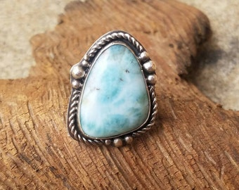 Larimar and sterling ring, size 8.5, statement ring, natural gemstone jewelry, larimar ring, one of a kind ring
