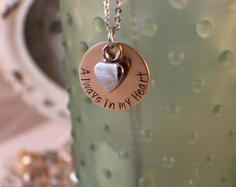Always in my Heart - Personalized Cremation Urn Necklace - Hand Stamped Cremation Jewelry - Heart Urn Jewelry Memorial Jewelry - Loss