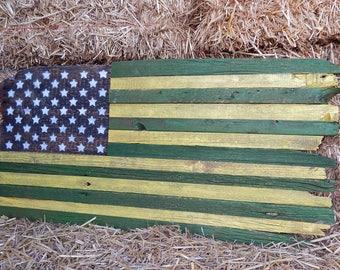 Green and Yellow American Rustic Barnwood Flag