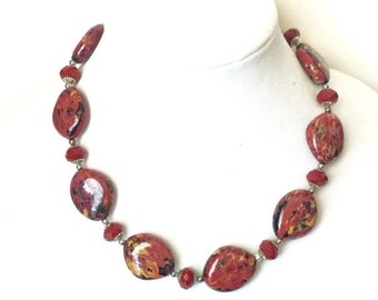 ON SALE A Gorgeous and Stylish Red Necklace,Ooak, Beaded, Statement, Christmas Gift