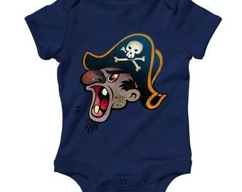 Baby Pirate Beard Romper - Infant One Piece, Creeper - NB 6m 12m 18m 24m - Pirate Romper, Cartoon, Caribbean, Treasure - 3 Colors