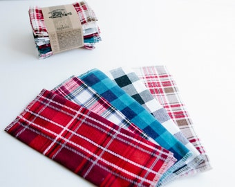 "Unpaper Towels Cloth Napkins 15 Flannel Tissues  - Choose your size (8""x 8"" or 10"" x 12"")  - 1 PLY -  Plaid Mix"