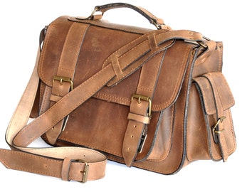 Large leather camera bag / Messenger /Women-Men chestnut brown leather bag / Photo case / Shoulder bag