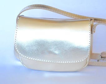 Small leather purse / Women gold leather clutch / Crossbody / Shoulder bag