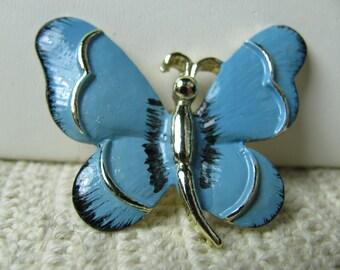 Vtg Gerry blue enamel butterfly pin