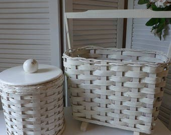 Wicker Set White Chippy Magazine Basket Waste basket Canister Bucket Round with wooden lid footed basket wooden handle