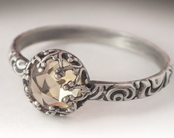 Citrine Pattern Ring, November Birthstone Jewelry, Sterling silver floral pattern band, Natural Citrine Ring Custom created in your size