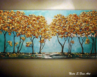 """Turquoise Landscape Painting Original Fall Tree Artwork Abstract Teal Tree Art Palette Knife Large Artwork 24""""x 48"""" Ready to Ship by Nata S."""