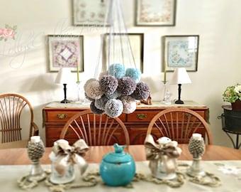 "LARGE Pom Poms - Hanging - Wall Decor - 3"" - Party Decoration - Yarn Pom Poms - Arctic Blue - Medium Gray - Dark Gray - Linen  (12)"