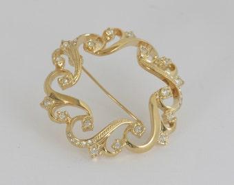 Gold Tone Clear Rhinestone Circle Scatter Brooch Pin / Vintage Costume Estate Jewelry / fruitsdesbois