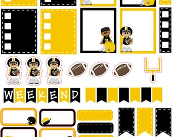 New! Football planner stickers black and yellow gold