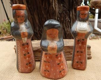 Burnished Tonala Mexico Nativity Pieces  ~  Nativity Pieces Mexico  ~  Burnished Tonala Blessed Mother  ~  Burnished Tonala Wisemen