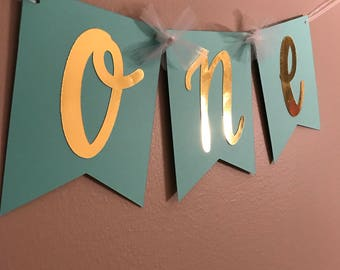 Mint and Gold Foil/Glitter high chair banner; Birthday Banner