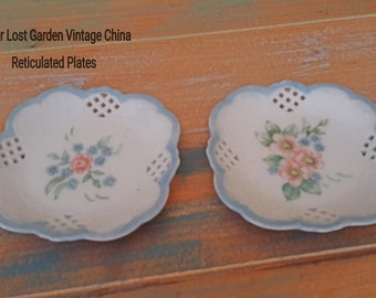 China Reticulated Plates Blue  Floral Vintage