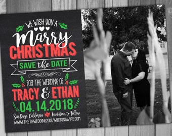 Christmas Save The Date Marry Christmas Wedding Save The Date Printable Save The Date Holiday Save The Date  Digital Save The Date