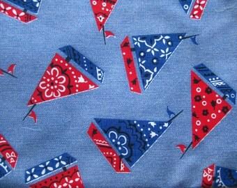 Vintage 50s 60s Denim & Bandana Novelty Print Sailboat Cotton Fabric Remnant 1 Yard