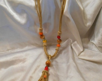 Holiday Sale Jute/Rope Tassel Necklace With Plastic Fruit, Wood Beads and Corks