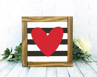 Heart Wooden Sign, Striped Black and White and Red Framed Wood Rustic Painted Home Decor, 7 x 7 Handmade Wall Hanging, Striped Sign