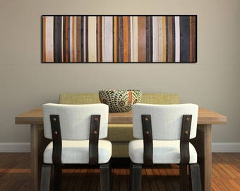 """Stormy Sky - Reclaimed Wood Art Sculpture in Browns, Navy, Cream and Gray 16x55"""" - Modern Wood Wall Art"""