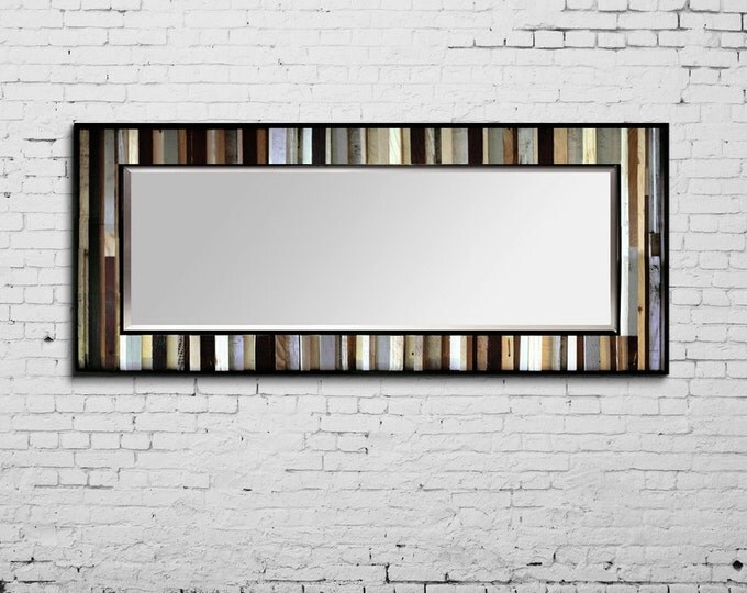 "Reclaimed Wood Mirror - 70x25 - Leaner Mirror - Floor Mirror - ""Tonal Reflection""- Modern Wood Wall Art- Reclaimed Wood Art"