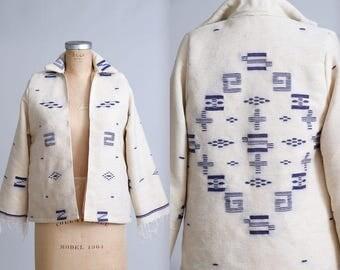 Antique Navajo Blanket Jacket Ivory and Blue Wool Fringe Coat