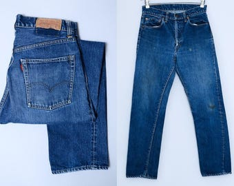 60s Big E Levis 505 Single Stitch Selvedge Denim Dark Indigo Black Bar Jeans 30 x 30
