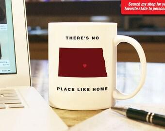 North Dakota ND Coffee Mug Cup, No Place Like Home, Gift Present Wedding Anniversary Personalized Color Custom Location grand Falls Bismarck