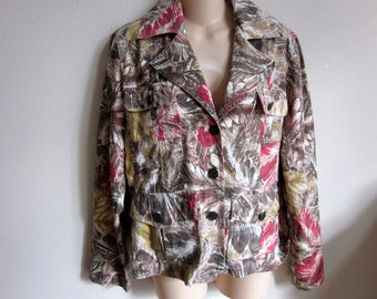 Boho jean jacket cotton chic  gypsy top Chico's size 1 S M