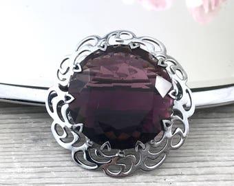 Vintage Mizpah Glass Brooch, Cairngorm Large Bold Vintage Plum Purple Glass Amethyst Brooch, Celtic Purple Brooch, Kilt Pin, Cape Pin.