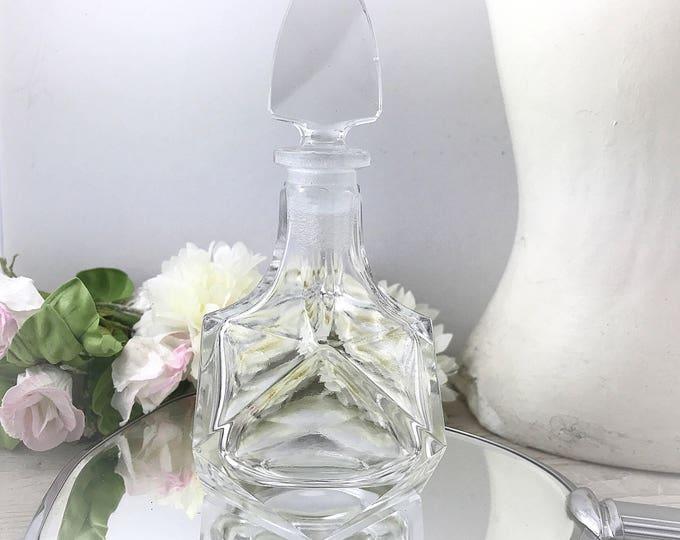Bohemian Czech Art Deco Clear Cut Glass Large Purfume bottle. Vintage Clear Czech Perfume Bottle, czech glass crystal,cut glass.