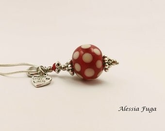 Polka dots, red and ivory lampwork glass bead pendant