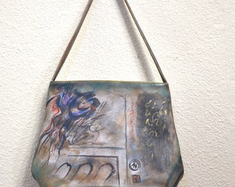 90s Jane Yoo Leather Hand Painted Shoulder Bag Wearable Art unique painted art  purse leather handbag