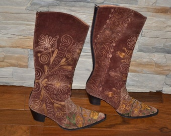 Vintage embroidered  cowboy  boots fabric boots  size 38 EU Western boots Decorative embroidery Handmade Bohemian Hippie Boots